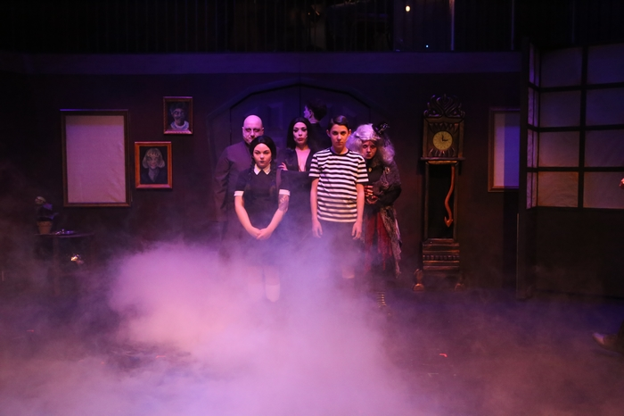 Ben Coburger, Samantha Carson, Ginette Simonot, Aubrey Baux and Chelsea Friesen in The Addams Family