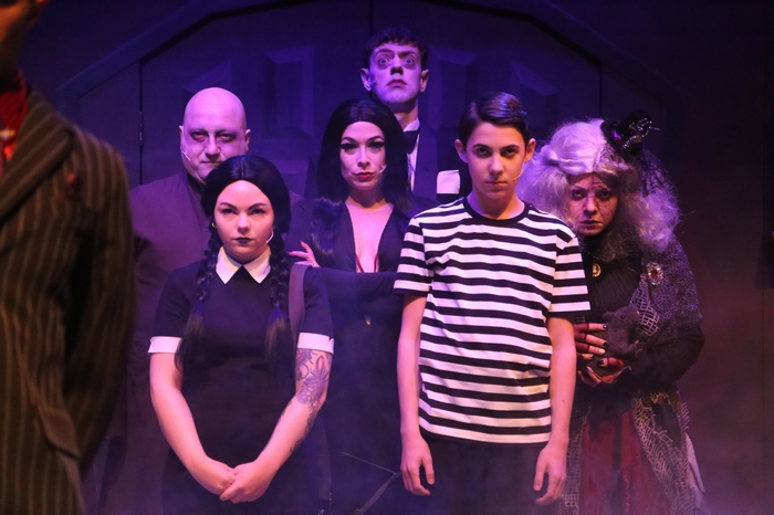 Ben Coburger, Samantha Carson, Ginette Simonot, Matthew McPhail, Aubrey Baux and Chelsea Friesen in The Addams Family