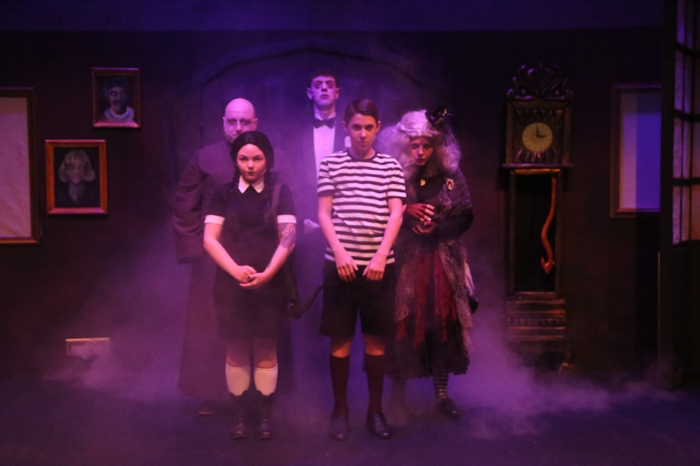 Ben Coburger, Samantha Carson, Matthew McPhail, Aubrey Baux and Chelsea Friesen in The Addams Family