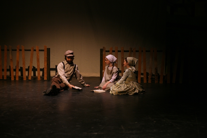 Lazlo Finnegan, Natalie Mack and Hannah Cinel in Fiddler on the Roof