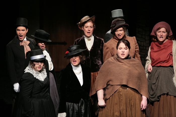 Mitchell Lukinuk, Tracy Smith, Crystal May, Jaclyn Barker, Colleen Bishop, Tamra Zielinski MacMillan, Donna Pearson and Tanya Wolff in Sweeney Todd: The Demon Barber of Fleet Street