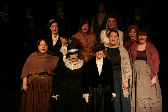 Donna Pearson, Colleen Bishop, Crystal May, Tracy Smith, Stefanie Barnfather, Lurene Bates, Tanya Wolff and Diana Venzi in Sweeney Todd: The Demon Barber of Fleet Street