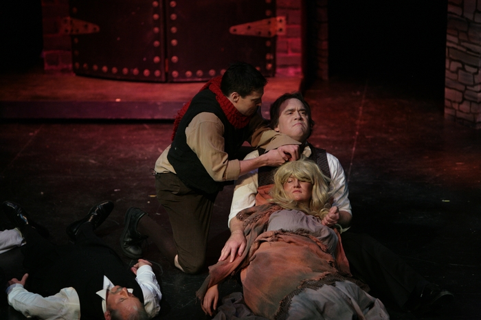 David Hume, Kirk Heuser and Carlyn Miller in Sweeney Todd: The Demon Barber of Fleet Street
