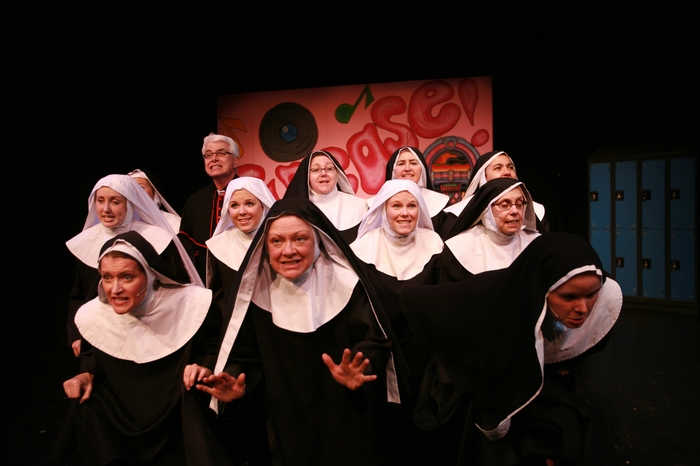 Katie Miller, Barb Mitchell, Greg Miller, Natalie Manz, Donna Barnfield, Cynthia Anderson, Andrea Gleason, Veronica Mack, Jolene Anderson, Kathy Lewis and Krista Willott in Nunsense the Mega Musical