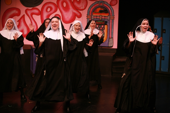 Natalie Manz, Cynthia Anderson, Donna Barnfield, Andrea Gleason, Veronica Mack and Krista Willott in Nunsense the Mega Musical