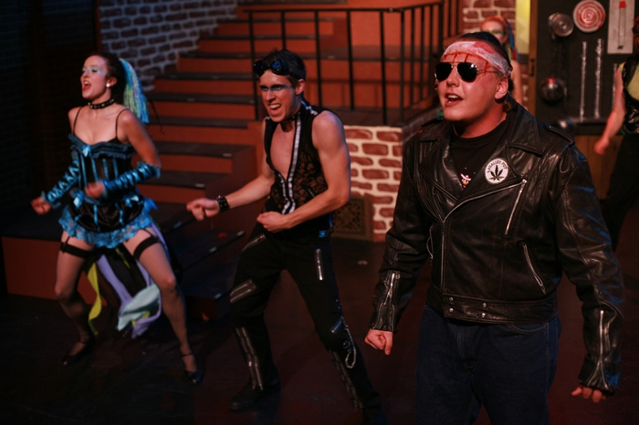 Danielle Desmarais, Cody Field and Charlie Deagnon in Rocky Horror Show