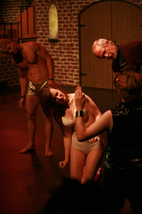 Doug Keeling, Angela Valiant, Janos Zeller and Greg Spielman in Rocky Horror Show