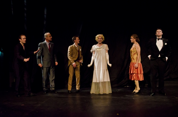 Darren Stewart, Christopher Gibson, Graeme Humphrey, Bethany McNab, Tanis Laatsch and Jarryd Baine in Singin' in the Rain