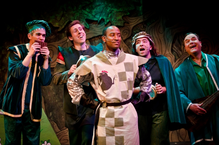 Jeff Wiseman, Cody Field, Tenaj Williams, Steven Eastgaard-Ross and Murray Melnychuk in Monty Python's Spamalot
