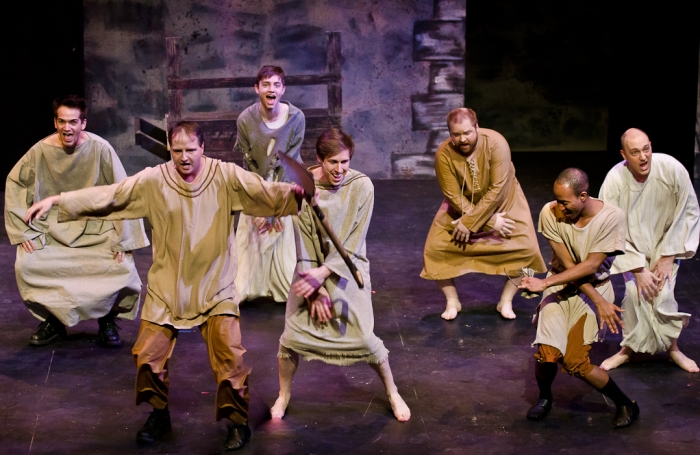 Jeff Wiseman, James McGowan, Stuart MacLeod, Cody Field, Colin Lowe, Tenaj Williams and Chris Willott in Monty Python's Spamalot