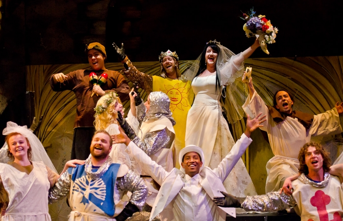 Hayley Feigs, Colton Duane, Stuart MacLeod, Colin Lowe, James McGowan, Mike Beattie, Tenaj Williams, Carlyn Miller, Steven Eastgaard-Ross and Doug Keeling in Monty Python's Spamalot