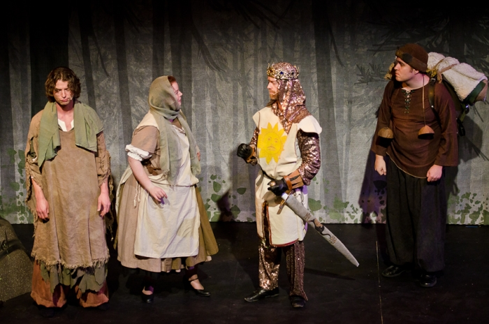 Doug Keeling, Hayley Feigs, Mike Beattie and Colton Duane in Monty Python's Spamalot
