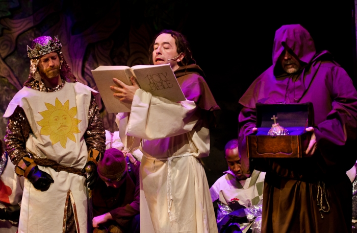 Mike Beattie, Steven Eastgaard-Ross and Colin Lowe in Monty Python's Spamalot
