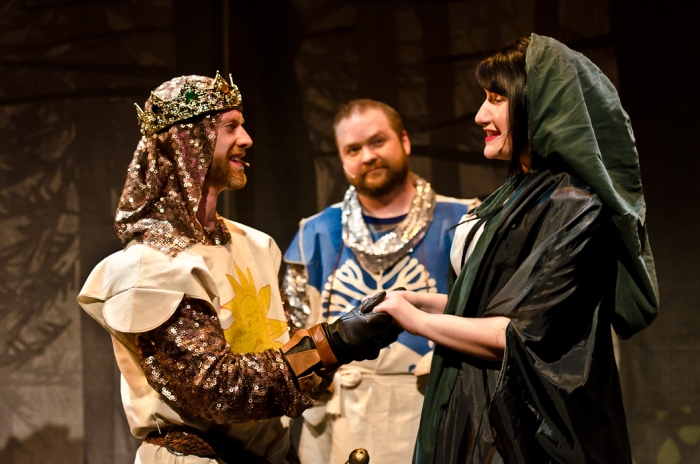 Mike Beattie, Colin Lowe and Carlyn Miller in Monty Python's Spamalot