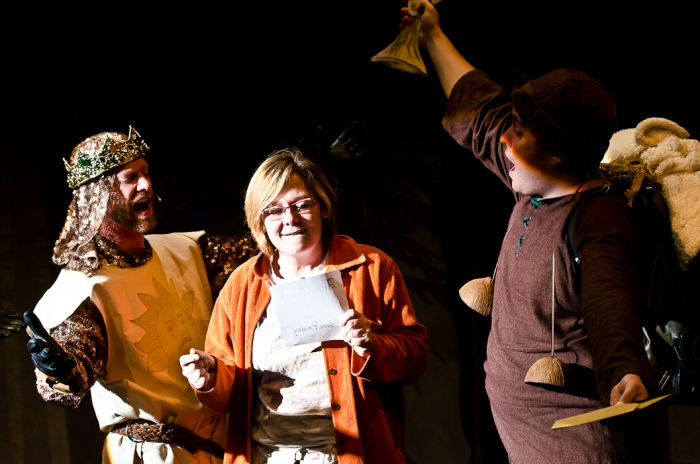 Mike Beattie, Lorie Masur and Colton Duane in Monty Python's Spamalot