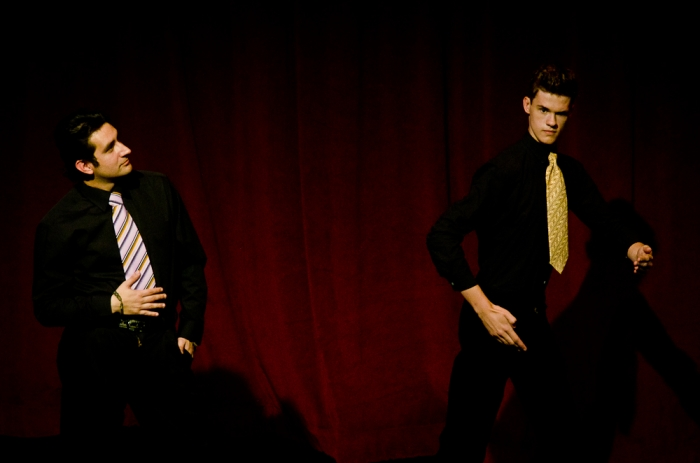 David Valentin Zapien Mercado and Adam Kieran in Legally Blonde