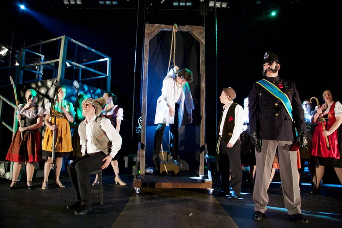 Liz Lipton, Danielle Desmarais, Cody Field, Mike Sornberger, Christopher Mavin, Bruce Fraser and Lyndsey Paterson in Young Frankenstein