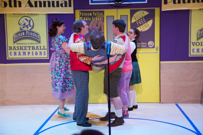 Allyson Foster, Darren Stewart, Tim Vollhoffer, Andrew Stewart and Amy Tollefson in The 25th Annual Putnam County Spelling Bee