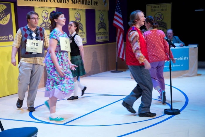 Tim Vollhoffer, Allyson Foster, Amy Tollefson, Darren Stewart, Caitlyn Milot and Scottie Grinton in The 25th Annual Putnam County Spelling Bee