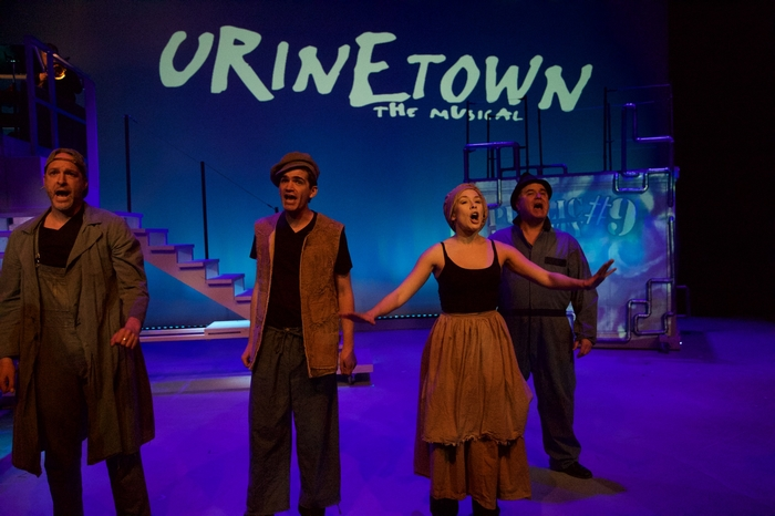 Murray Schmidt, Jeff Wiseman, Ginette Simonot and Murray Melnychuk in Urinetown