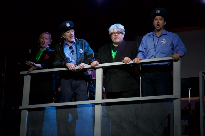 Janos Zeller, Michael Brown, Brian Thiele and Bryan Smith in Urinetown