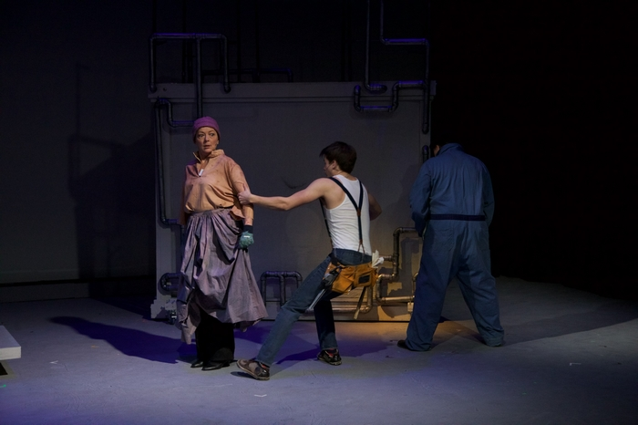 Sherry West, Adam Sanders and Murray Melnychuk in Urinetown