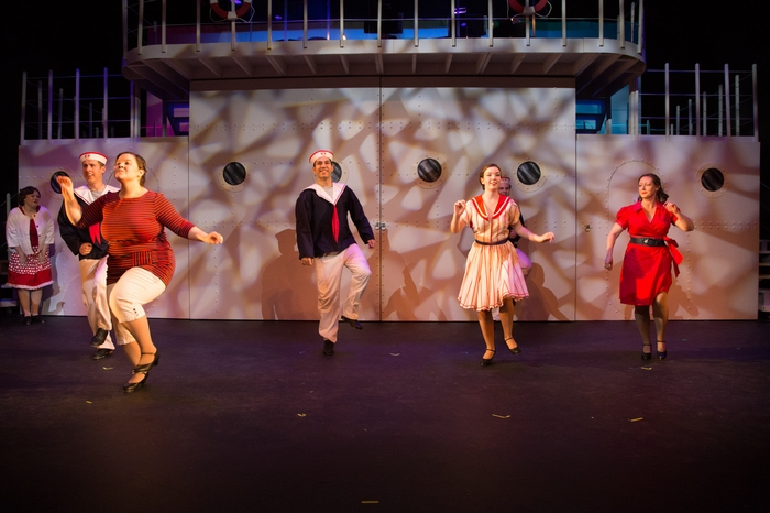 Cody Field, Thompson Harper, Matthew McDonald, Vicki Trask, Mikee Ames and Jenna Fraser in Anything Goes