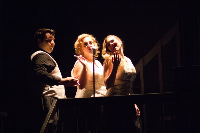 Riley Galarneau, Lyndsey Paterson and Tanis Laatsch in Reefer Madness