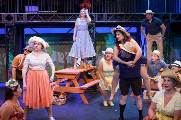 Lyndsey Paterson, Tanis Laatsch, Mallorie Miller, Janos Zeller and Fadi Saghir in The Pajama Game