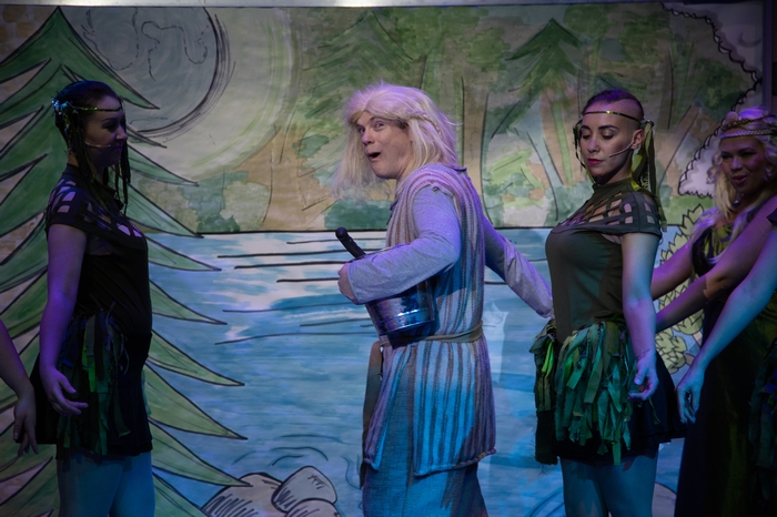 Christine Mooney, Darren Stewart and Crystal May in Monty Python's Spamalot